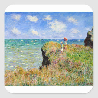 Clifftop Walk at Pourville - Claude Monet Square Sticker