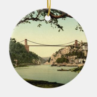 Clifton Suspension Bridge I, Bristol, England Round Ceramic Ornament