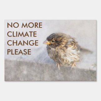 Climate change awareness sign