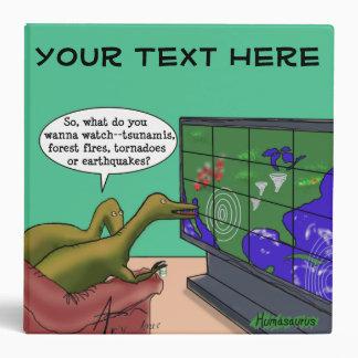 Climate Change Dinosaurs Parody Cartoon Vinyl Binder