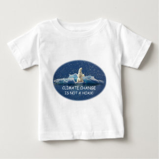 CLIMATE CHANGE IS NOT A HOAX Polar Bear on Iceberg Baby T-Shirt