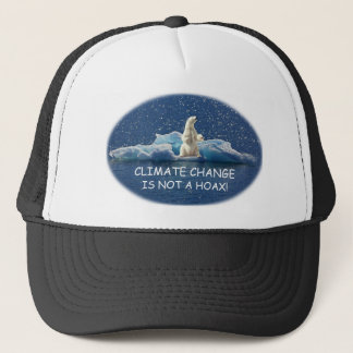 CLIMATE CHANGE IS NOT A HOAX Polar Bear on Iceberg Trucker Hat