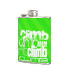 Climb; Neon Green Stripes Hip Flask