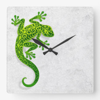 Climbing Green Gecko on a White Wall Wallclocks