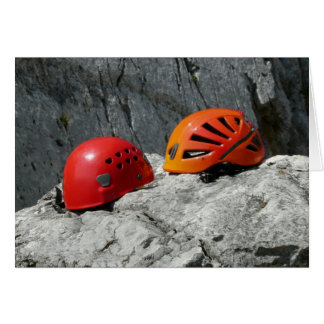Climbing Helmets on a Rock Blank Card