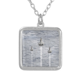 Climbing Jets in the Clouds Silver Plated Necklace