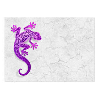 Climbing Purple Gecko on a White Wall Business Card Template