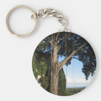 Climbing ropes hanging from a big tree basic round button keychain