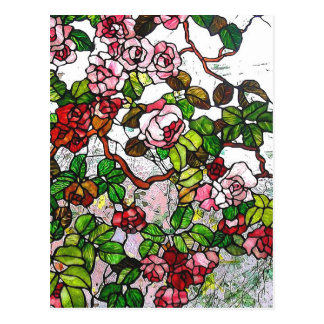 Climbing Roses - stained glass Postcard