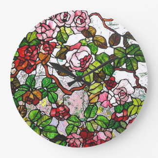 Climbing Roses - stained glass Wallclocks
