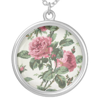 Climbing roses wallpaper, 1900-1915 silver plated necklace