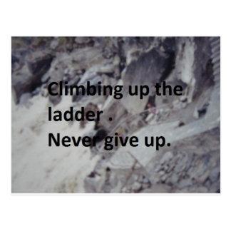 climbing up the ladder postcard