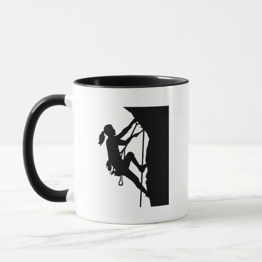 Climbing woman girl mug