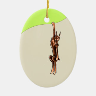 Clingy Red Rust Doberman Pinscher Ceramic Oval Ornament