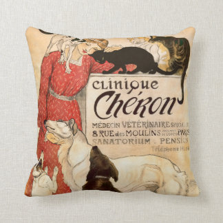 Clinique Cheron Paris Veterinary Advertisement Throw Pillow