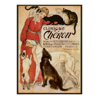 Clinique Cheron Vintage Veterinary Advertisement Poster