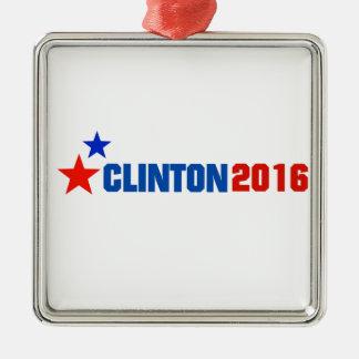 Clinton 2016 Silver-Colored square ornament