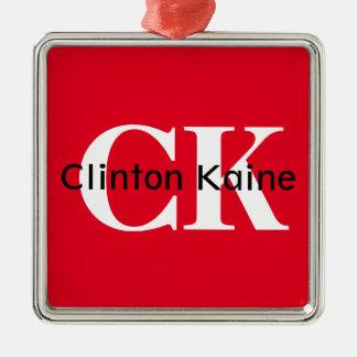Clinton Kaine - CK 2016 Silver-Colored Square Ornament