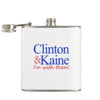 Clinton & Kaine i'm with them Flasks