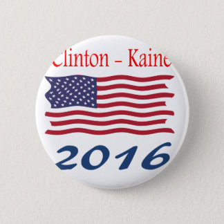 Clinton  Kaine waving flag 2 Inch Round Button