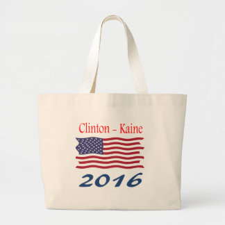 Clinton  Kaine waving flag Jumbo Tote Bag