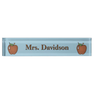 Clip Art Apples Teacher's Custom Desk Nameplate