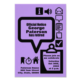 """Clipart Choose your color4 Custom Retirement Party 3.5"""" X 5"""" Invitation Card"""