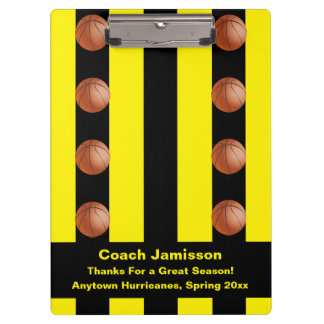 Clipboard Black/Yellow Stripe For Basketball Coach