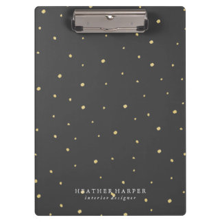 Clipboard - Gold Dots Black