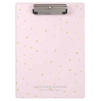 Clipboard - Gold Dots Pink