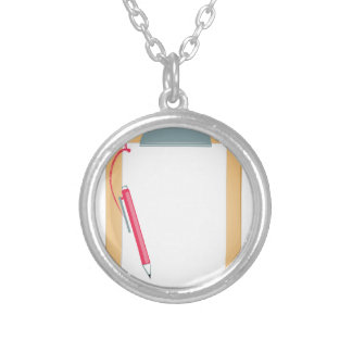 Clipboard & Pencil Silver Plated Necklace