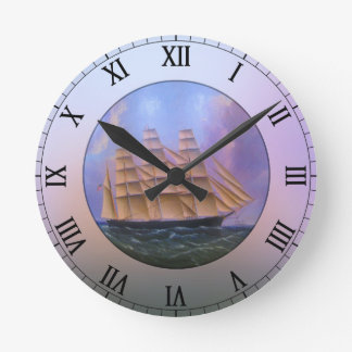 Clipper Sailboat in Purple Waters Round Clock