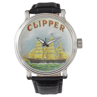 Clipper Sailing Ship Vintage Cigar Box Label Watch