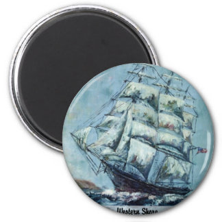 Clipper Ship Western Shore 2 Inch Round Magnet