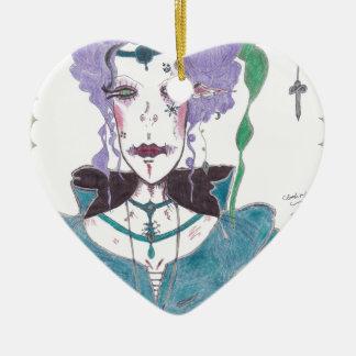 Cloak and Dagger: A Faerie Portrait Ceramic Heart Ornament