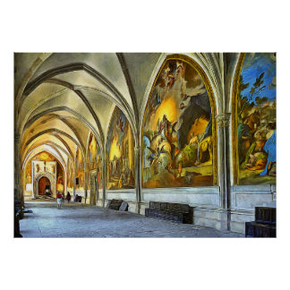 Cloatre Gallery with frescoes of St. Mary. Poster