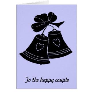 Cloches de mariage, bleues carte de vœux