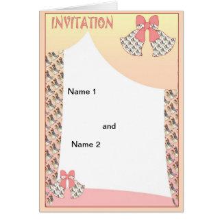 Cloches de mariage couleur pêche carte de vœux