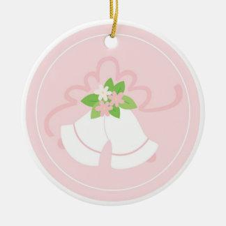 Cloches de mariage en pastel roses ornement rond en céramique