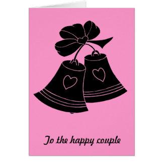 Cloches de mariage, fuschia carte de vœux