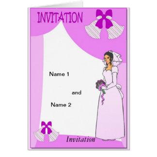 Cloches de mariage roses carte de vœux