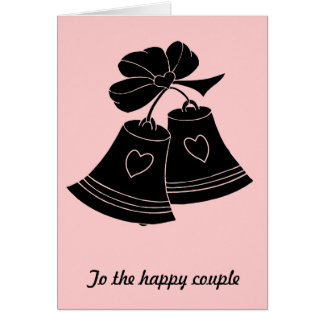 Cloches de mariage, roses carte de vœux