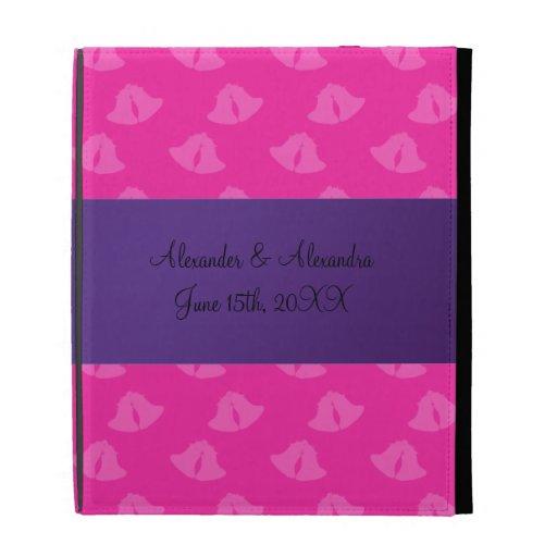 Cloches de mariage roses épousant des faveurs coques iPad folio