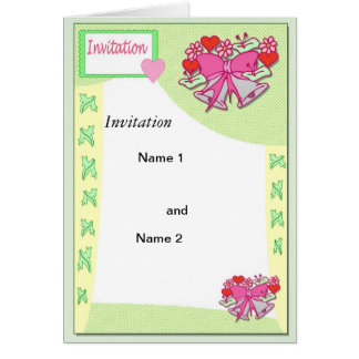 Cloches de mariage vertes carte de vœux