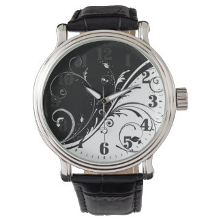 """Clock """"Black and White flowers """" Wristwatch"""