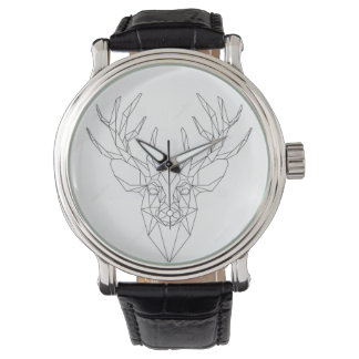 Clock black leather silver and strap reindeer wrist watches