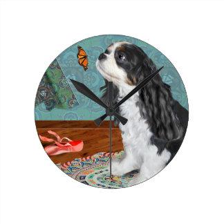 Clock, Cavalier Spaniel, ballerina, teal, rag rug, Round Clock