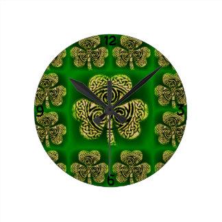 Clock, clock, clover sheet, Celtic knot, green Round Clock