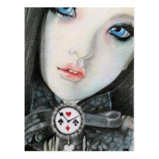 Clock doll face  fantasyPostcard Postcard