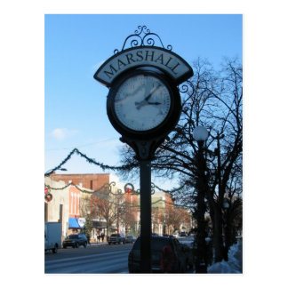 Clock, Downtown Marshall, Michigan Postcard